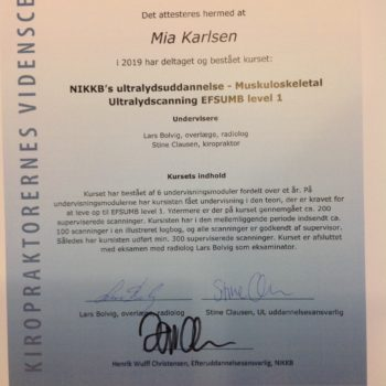 Kiropraktor Lystrup Mia Karlsen Diplom Ultralyd